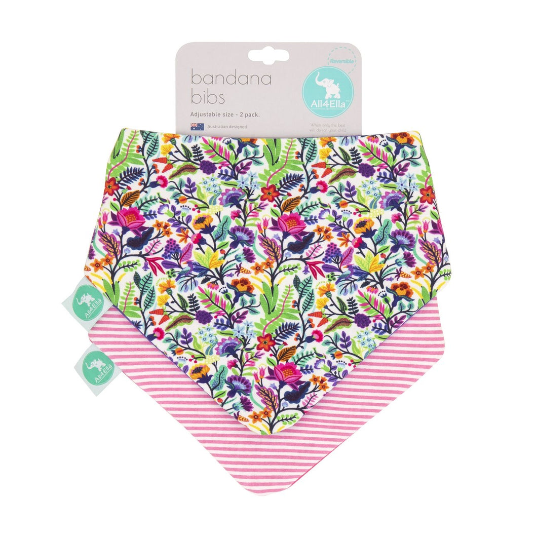 All4Ella 2pk Bandana Bibs - Bright Floral