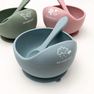 One Chew Three Bowl and Spoon Set - Blue