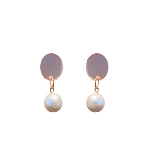 Tilly and Tribe Earrings- Pearl Drops with Rose Mirror