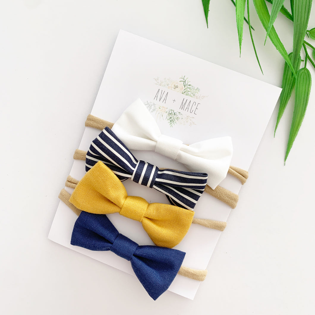 Ava and Mace Headband Pack x 4 White, Stripes, Mustard, Navy