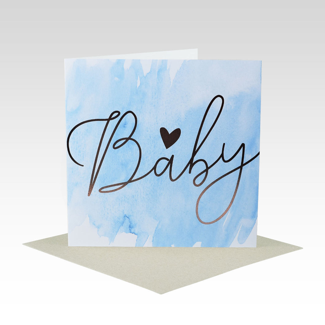 Baby Greetings Card - Blue Gold Foil