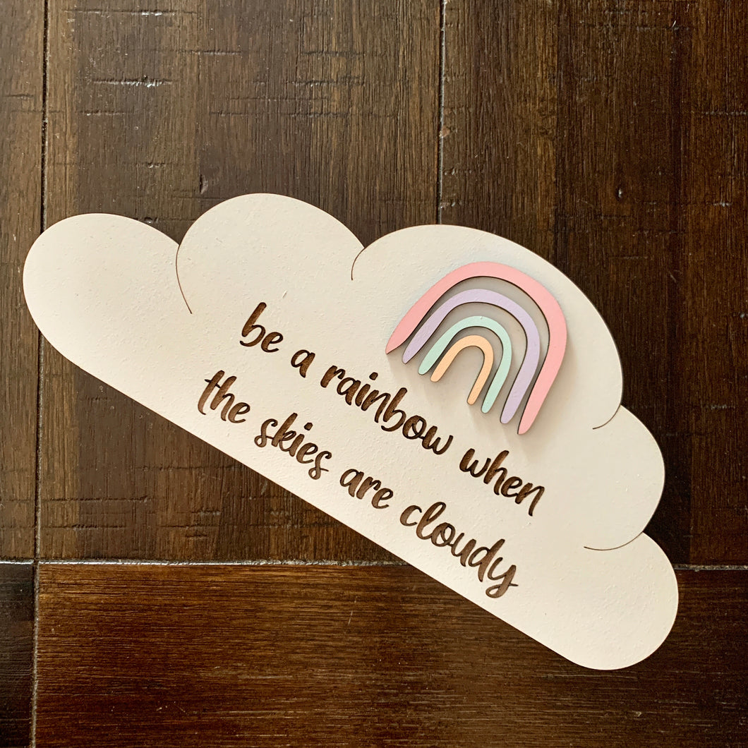 Timber Tinkers Wall Sign - Rainbow Cloud pink