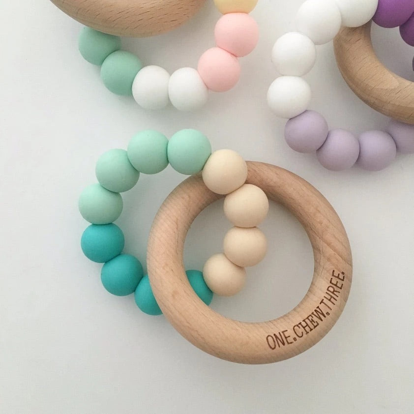 One Chew Three Silicone/Beech Wood Teether - Turquoise Ombré