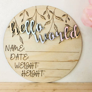 Timber Tinkers Birth Announcement Disc - Hello World Pastel