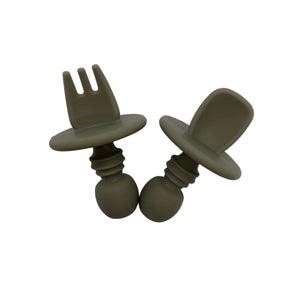 Silicone Fork and Spoon Set - Sage