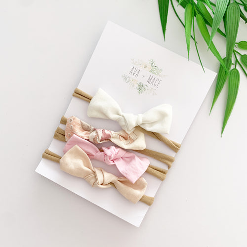 Ava and Mace Headband Pack x 4 White, Floral, Pink and Baby Pink
