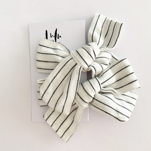 Lulu and Lo Luxe Bow Clip - White Stripe