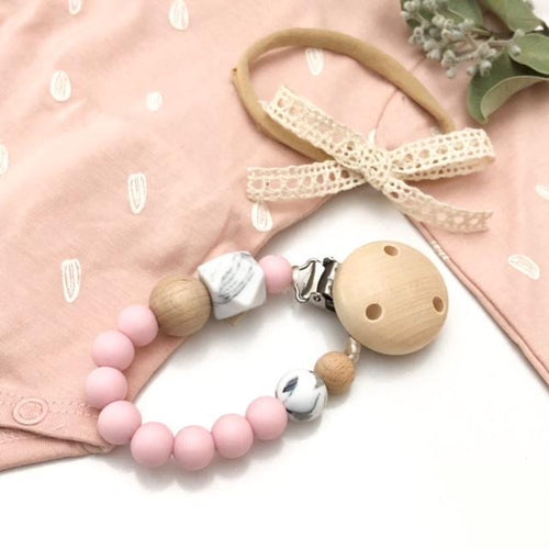 One Chew Three Silicone Dummy Holder - Pastel Pink Marble