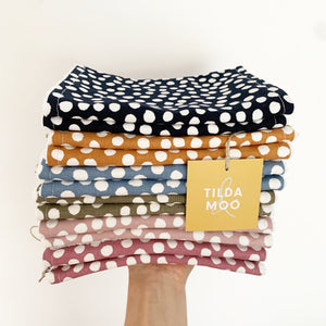 Tilda and Moo Burp Cloth - Deep Navy or Rust