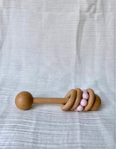 Made by Gabbee - Wooden/Silicone 3 Ring Rattle Pink