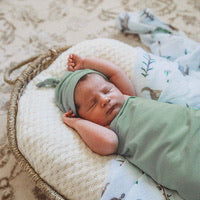 Snuggle Hunny Baby Jersey Wrap and Beanie Set -Sage