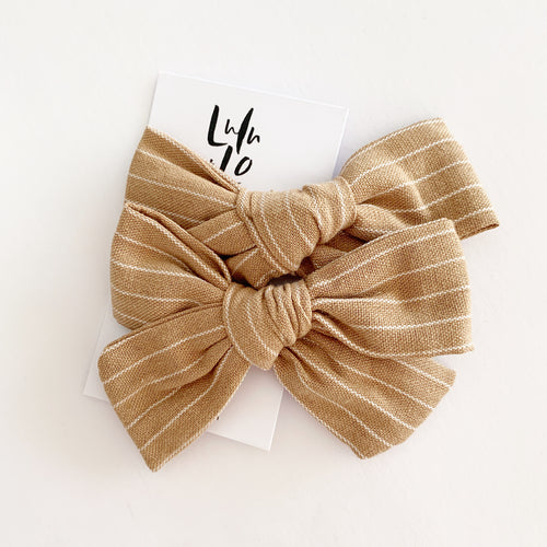 Lulu and Lo Luxe Bow Clip -  Deep Beige Stripe
