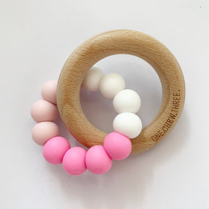 One Chew Three Silicone/Beech Wood Teether - Pink Ombré