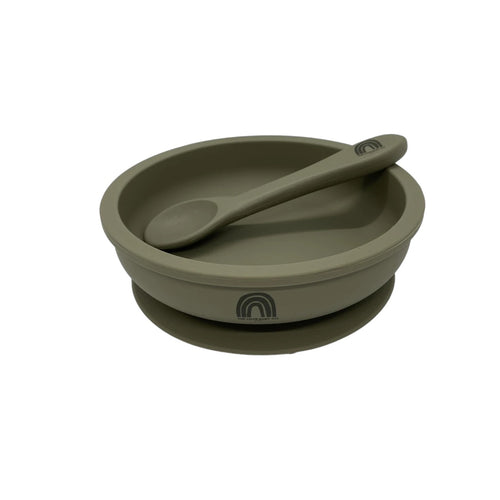 Silicone Bowl and Spoon Set - Sage