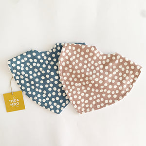 Tilda and Moo Classic Bib Spots - Blue Sky or Dusty Pink