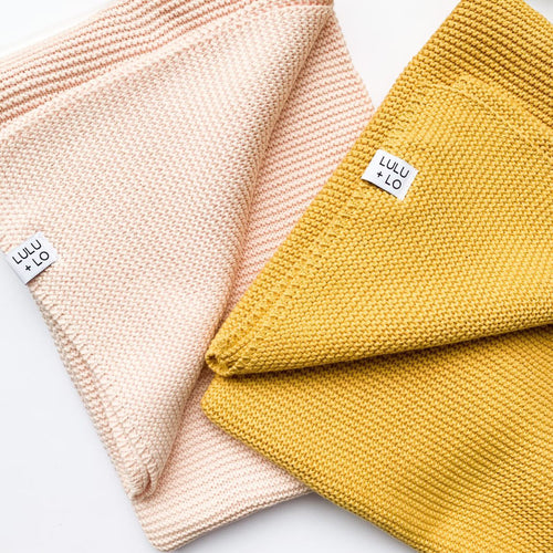 Lulu and Lo - Knitted Blanket - Pink or Mustard