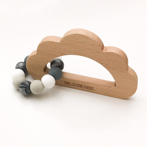 One Chew Three Cloud Silicone & Beech Wood Teether - Stormy Grey
