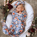 Snuggle Hunny Baby Jersey Wrap and Topknot Set - Vintage Blossom