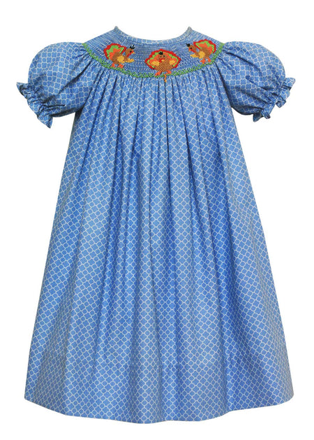Smocked Turkeys Green Corduroy Dress