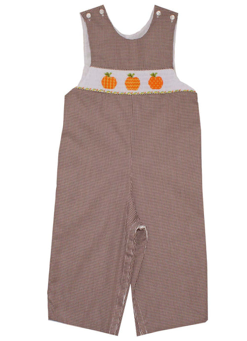 Smocked Pumpkin Brown Gingham  Boys Longall