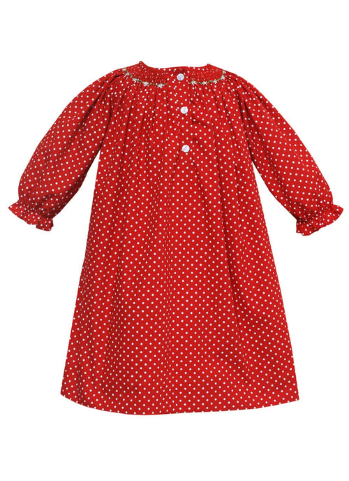 Smocked Geometric Gown Red Polka Dots Loungewear