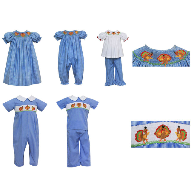 Smocked Turke Bubble Blue Print Fabric