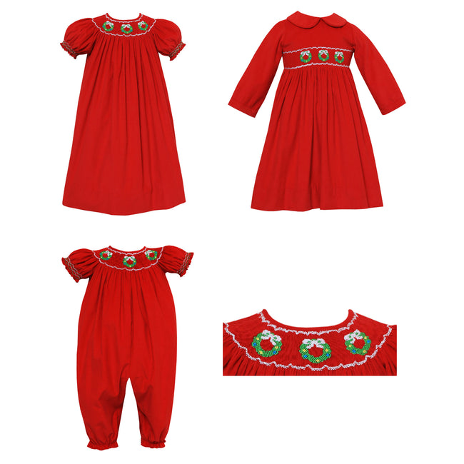 Smocked Christmas Wreath Red Corduroy Longbubble