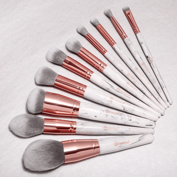 Bh Cosmetics Marble Luxe 10 Piece Brush Set - Klosmic India