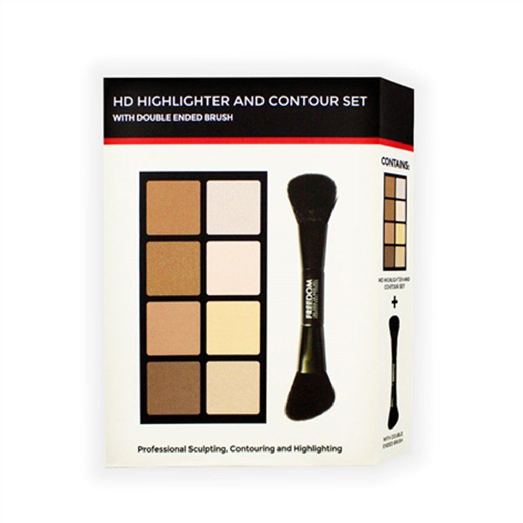Freedom Makeup London HD Highlighter & Contour Set (with double ended brush) - Klosmic