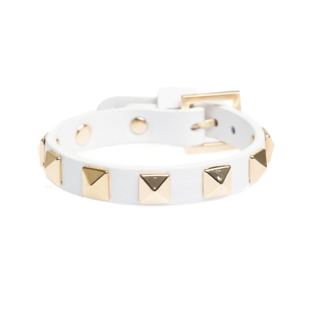 Leather Stud Bracelet White