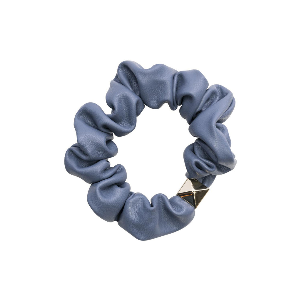Leather Mini Scrunchie 501 Blue