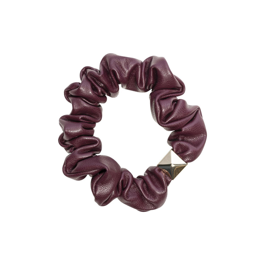 Leather Mini Scrunchie Maroon