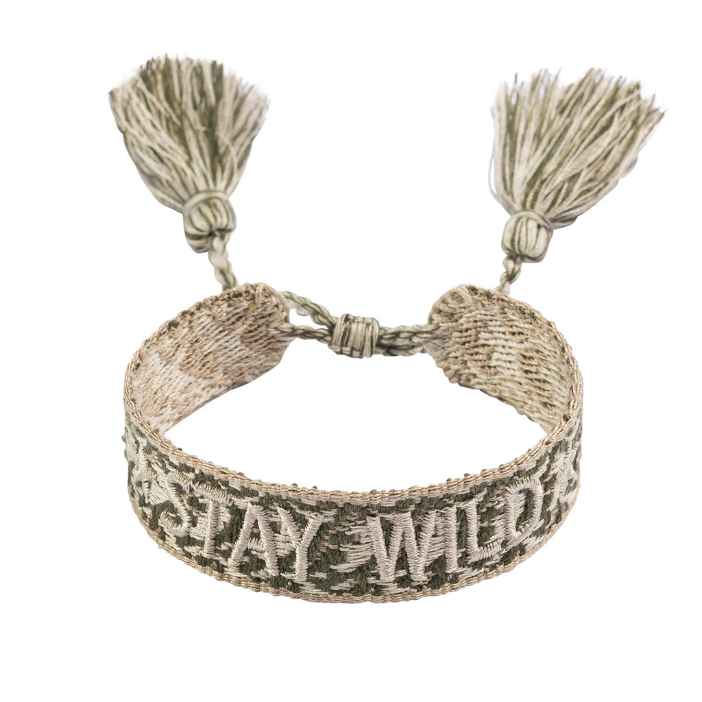 Woven Bracelet Faded Army 'Stay Wild'