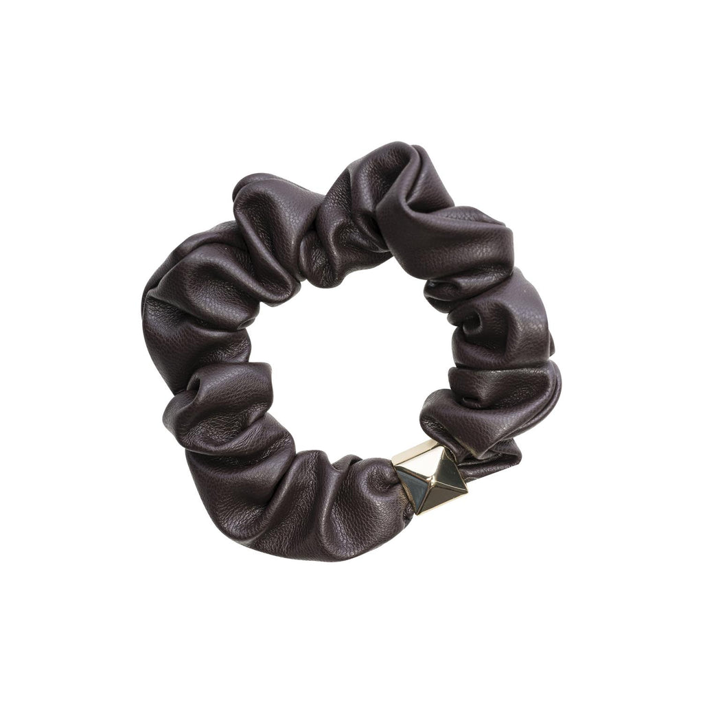 Leather Mini Scrunchie Chocolate Brown