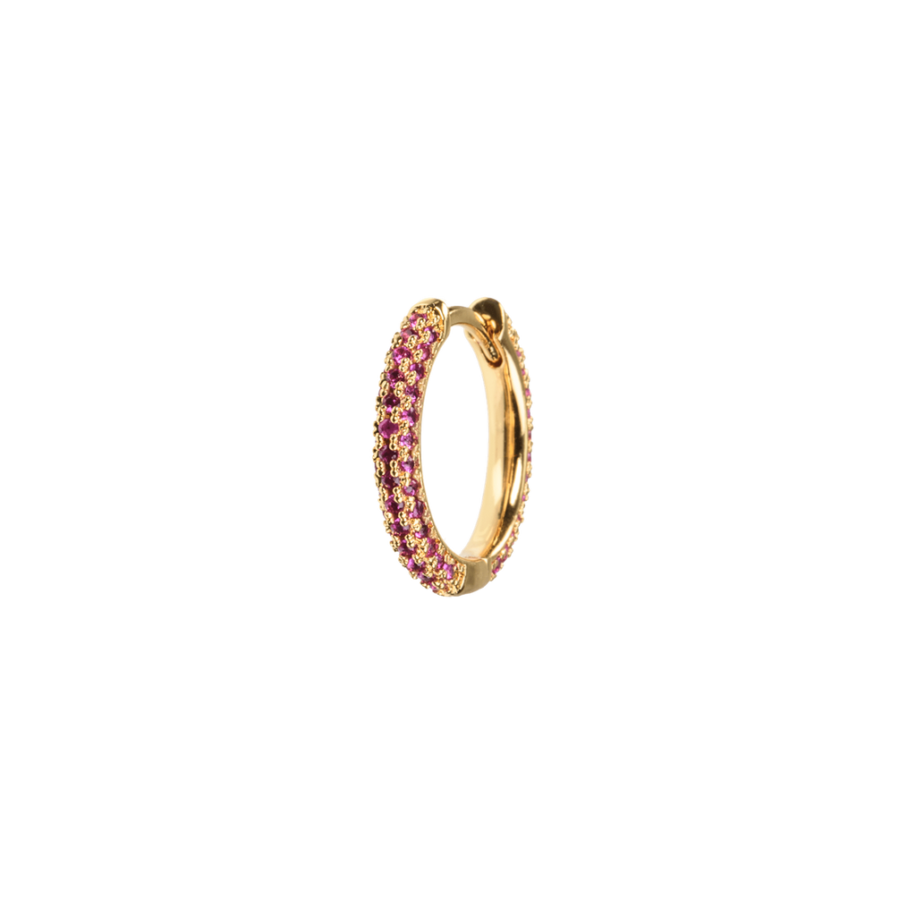 Medium Stone Covered Hoops Cerise