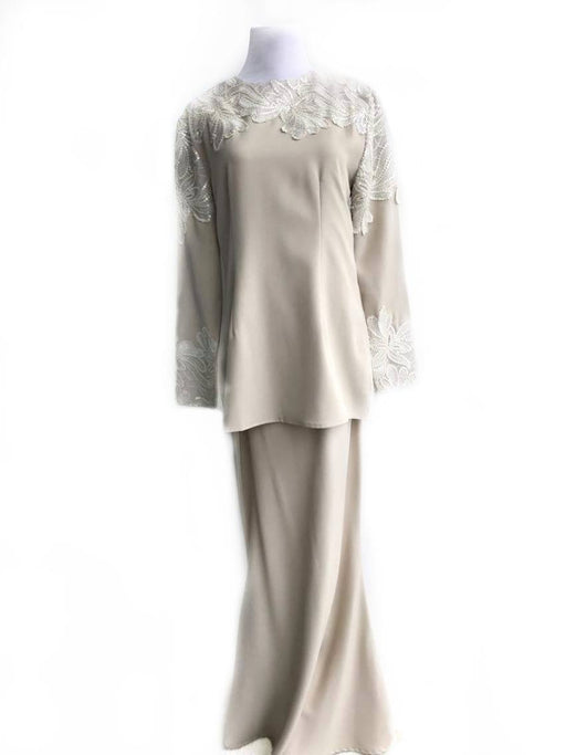Melinda Looi, with Floral Beads, Beige, L