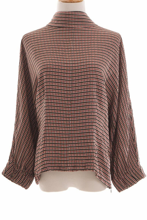 Zara, Checkered Boat Collar Top, XL, Red, Grey, Off White