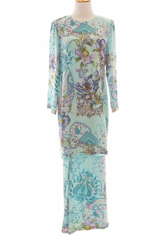 Italian Silk Tailored Kurung Modern with Back Zip, Blue, Size M