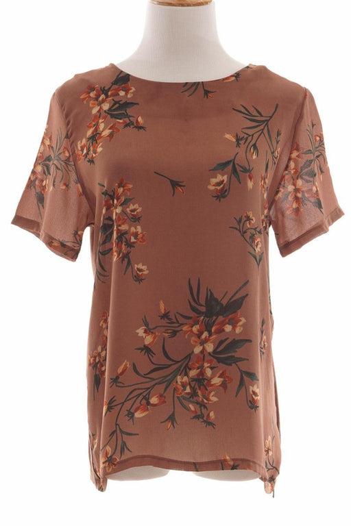Zara, Floral Top, M, Brown