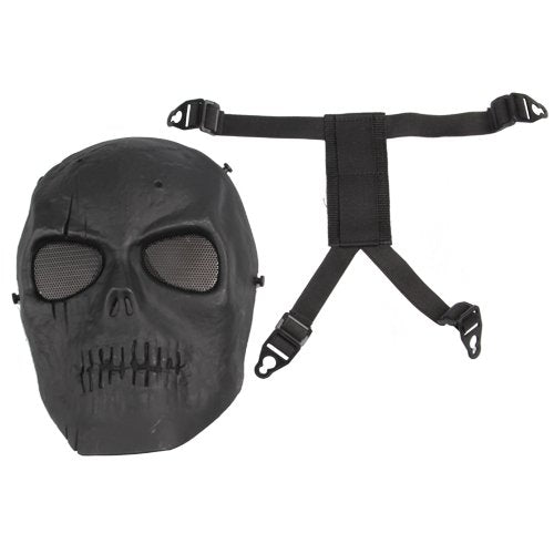 FJS Airsoft Mask Skull Full Protective Mask Military - Black