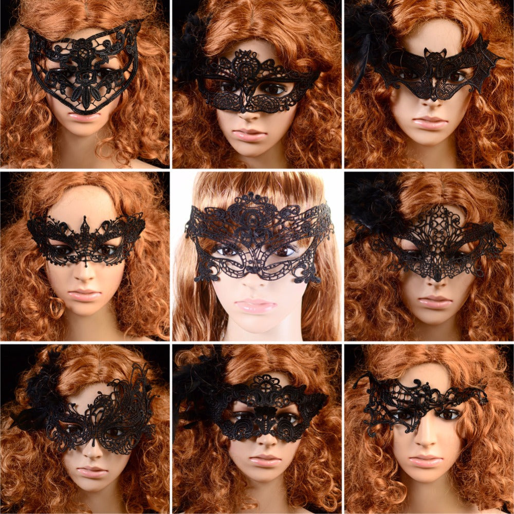 Lace Venetian Masquerade Eye Mask in Black