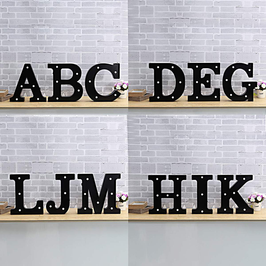 "30cm (12"") Large Metal Alphabet Letters LED Night - Black"