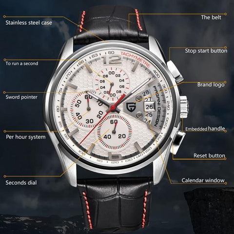 Lifestyle Military Leather Quartz Watch - lifestyleestore.com
