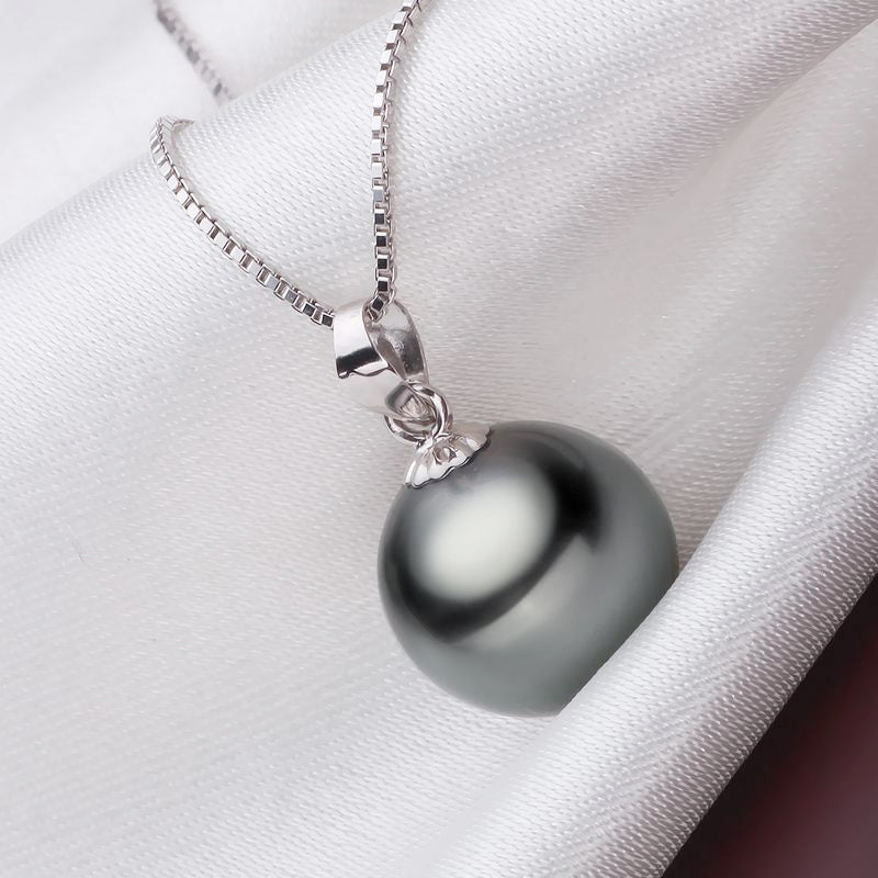 Black pearl pendant necklace with solid 925 silver chain necklace black pearl pendant necklace with solid 925 silver chain necklace aloadofball Image collections
