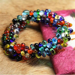 Nepal  Mini Lampwork Glass Beaded Bracelet Stretch for Girls