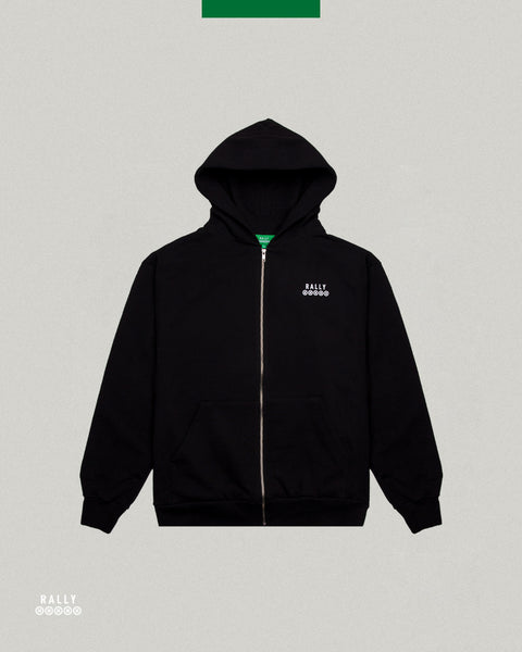 Face Zip Up Hoodie - Black