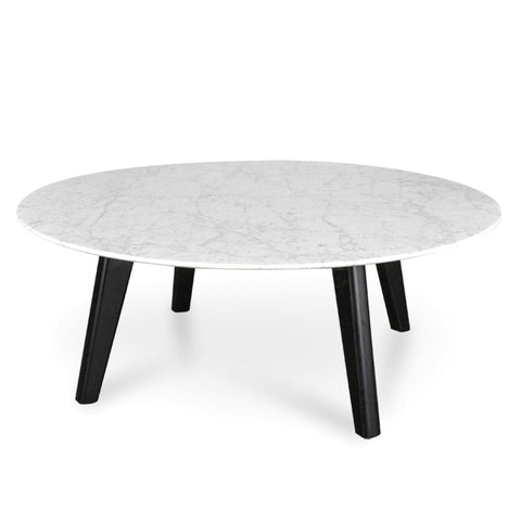 Hunter Marble Coffee Table with Black Legs