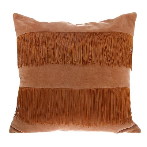 Velvet Fringe Cushion Nude