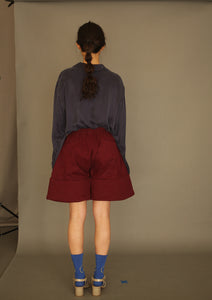 DANSHAN Burgundy Padded Sculpture Shorts