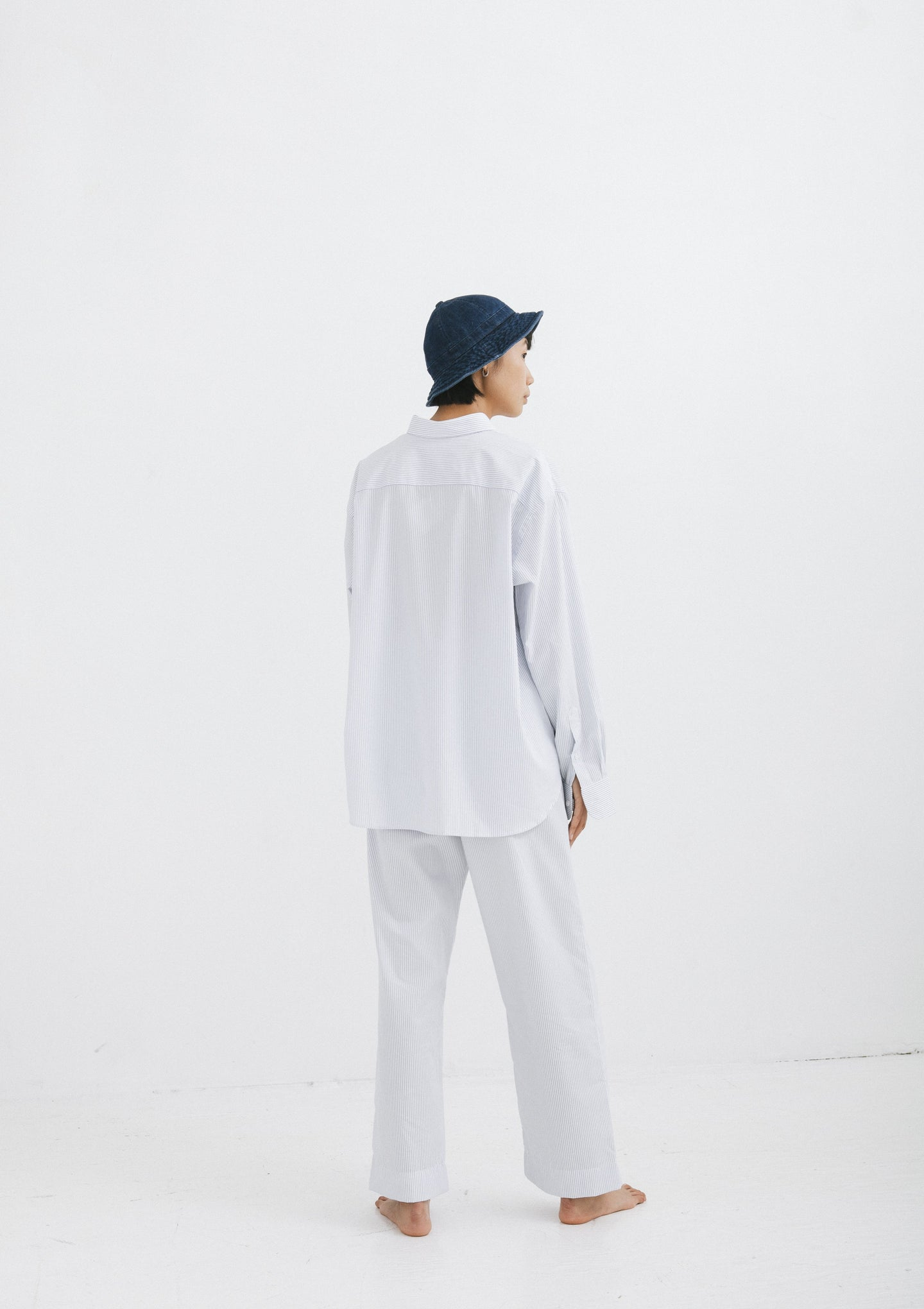 Ole Trousers (White with Stripe)
